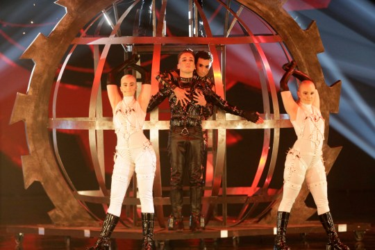 epa07582721 Contestants Hatari of Iceland perform 'Hatrid mun sigra' during the Grand Final of the 64th annual Eurovision Song Contest (ESC) at the Expo Tel Aviv, in Tel Aviv, Israel, 18 May 2019. EPA/ABIR SULTAN