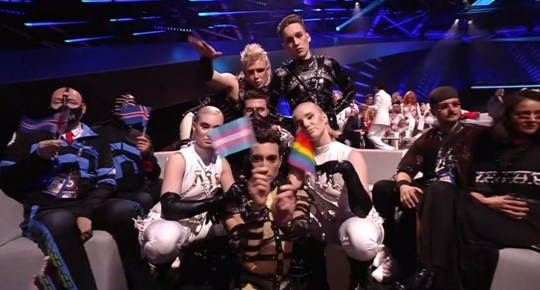 Iceland with trans and LGBT flags Picture: BBC