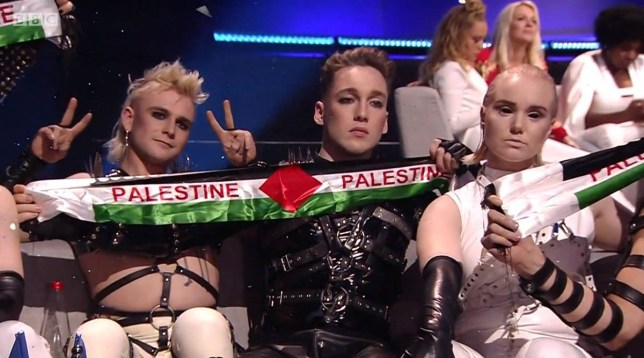 Iceland held up Palestinian banners BBC