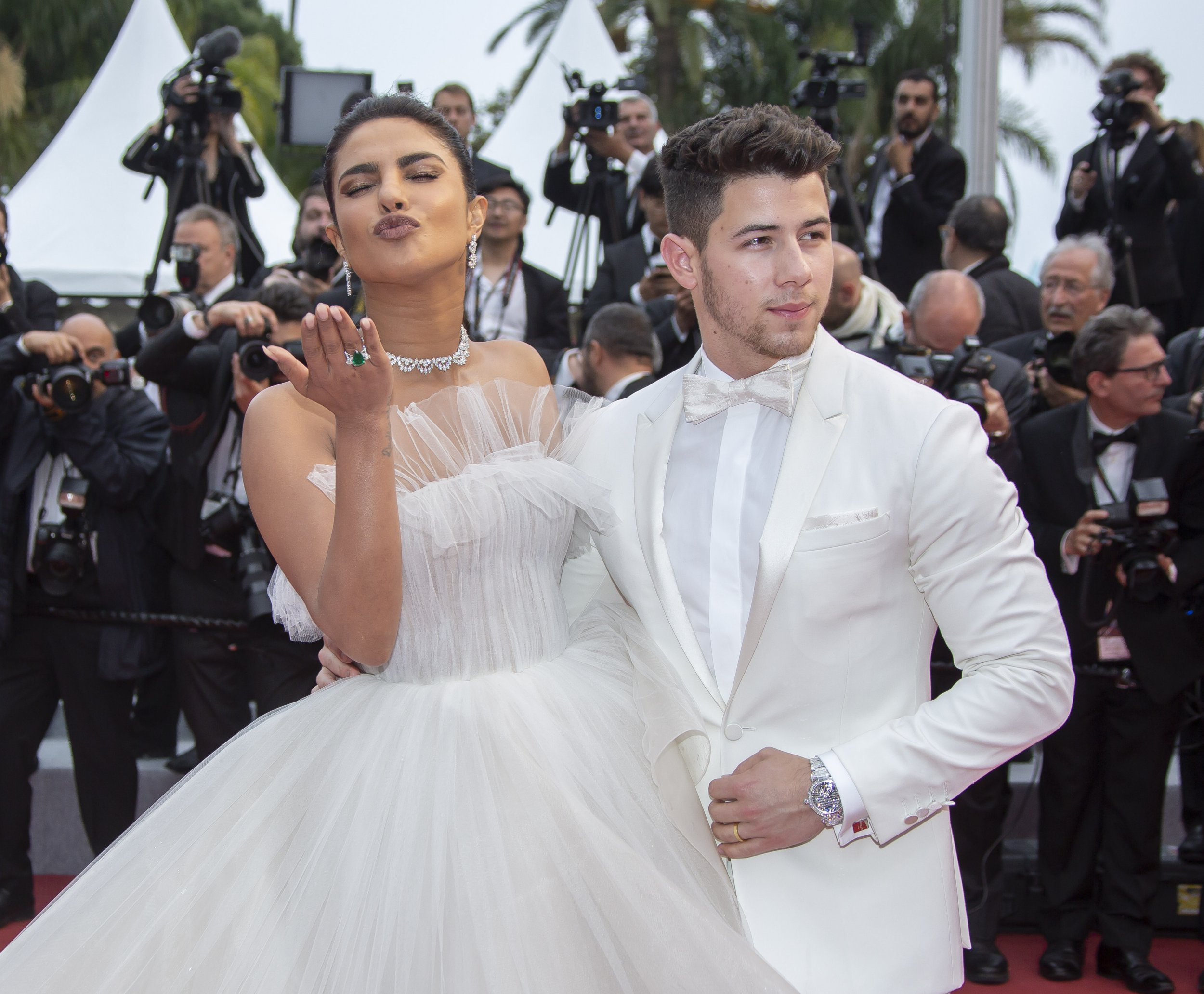 Actress Priyanka Chopra and her father Nick Jonas attend a screening of Les Plus Belles Annees D'Une Vie during a 72nd annual Cannes Film Festival on May 18, 2019 in Cannes, France. 18 May 2019 Pictured: Actress Priyanka Chopra and her father Nick Jonas. Photo credit: KCS Presse / MEGA TheMegaAgency.com +1 888 505 6342