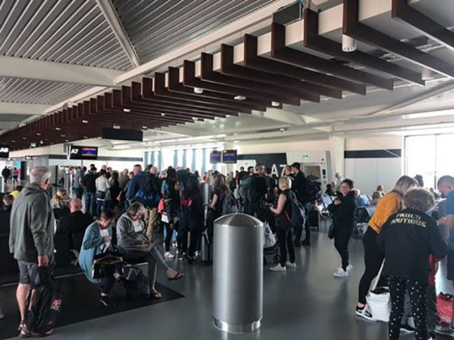 Manchester Airport this evening (Sunday May 19) where hundreds of people are understood to be affected by problems with the aircraft fuelling system