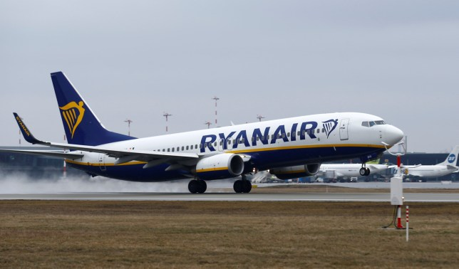 FILE PHOTO: A Ryanair Boeing 737-800 plane takes off at the Riga International Airport, Latvia March 15, 2019. REUTERS/Ints Kalnins/File Photo