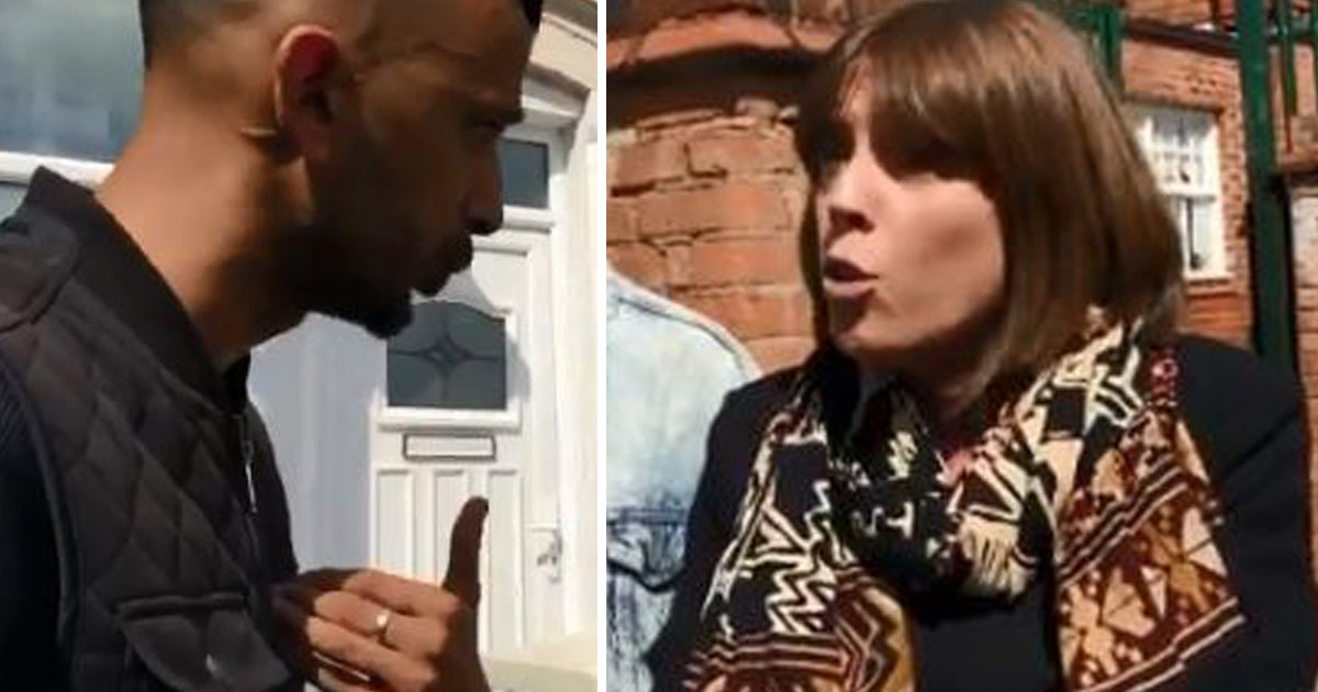 Jess Phillips confronts anti LGBT protesters outside Birmingham school