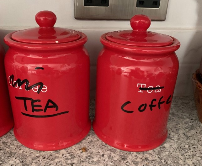 "This is the picture which a man posted to Twitter after his mum relabelled her tea and coffee jars because she mixed the two that took the Internet by storm. See SWNS story SWOCjars - Rich Harris, 42, tweeted a picture of two kitchen jars that his mum Jackie, 69, relabelled so that she ""couldn't confuse people anymore"" on 19 May. The Underground worker from Soho, London moved in with his retired parents in Clacton-on-Sea last August, but noticed the weird switch just two weeks ago. Rich said that Jackie filled the jars wrong one day and didn't think to empty them and refill correctly, so decided to relabel the jars with a permanent marker pen.Jackie, who Rich described as a ""simple woman with a heart of gold and the mind of a goldfish"", underlined Tea simply because she drinks more tea than coffee"