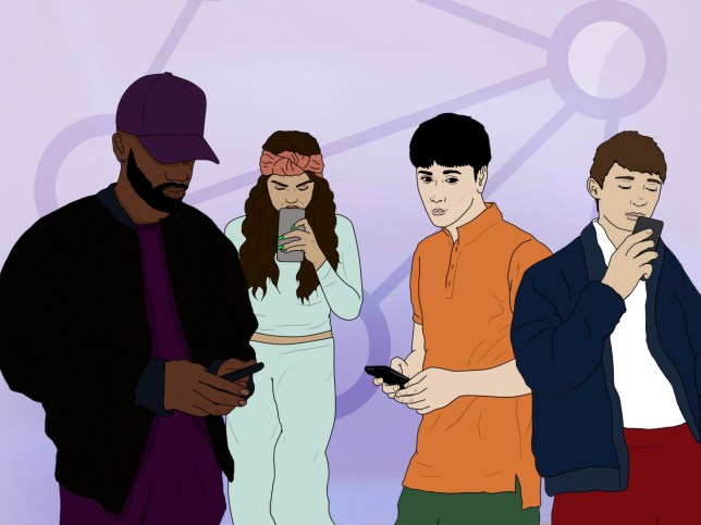 Animation of various characters on their phone