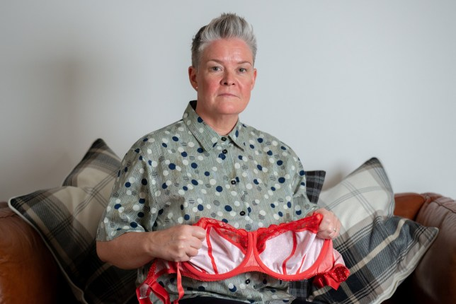 Lynne McConnel ,51, was left with this gaping hole in her chest, which she claims is the result of years of wearing close-fitting underwire bras