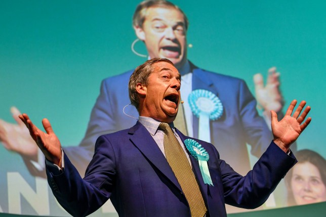 EDINBURGH, SCOTLAND - MAY 17: Nigel Farage attends a rally with the Brexit Party???s European election candidates at the Corn Exchange in Edinburgh on May 17, 2019 in Edinburgh, Scotland. The Brexit Party leader was speaking at his first Scottish rally of the European election campaign. (Photo by Jeff J Mitchell/Getty Images)