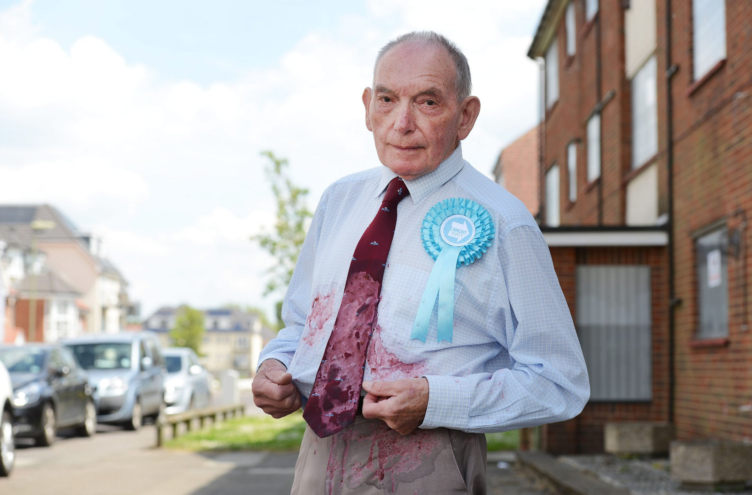 Brexit Party pensioner hit with milkshake outside polling station