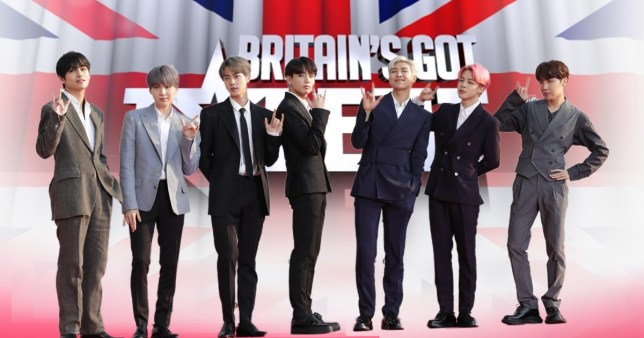 BTS performing on Britain's Got Talent