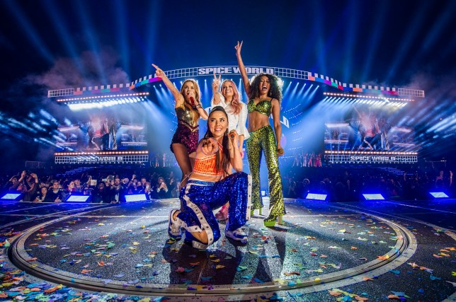 Handout photo dated 24/05/19 issued by Dawbell of Geri Horner, Emma Bunton, Melanie Brown and Melanie Chisholm of the Spice Girls in concert at Croke Park in Dublin. The pop group took to the stage for the first time in seven years to kick off their highly-anticipated stadium reunion tour. PRESS ASSOCIATION Photo. Issue date: Saturday May 25, 2019. See PA story SHOWBIZ Spice. Photo credit should read: Andrew Timms/PA Wire NOTE TO EDITORS: This handout photo may only be used in for editorial reporting purposes for the contemporaneous illustration of events, things or the people in the image or facts mentioned in the caption. Reuse of the picture may require further permission from the copyright holder.