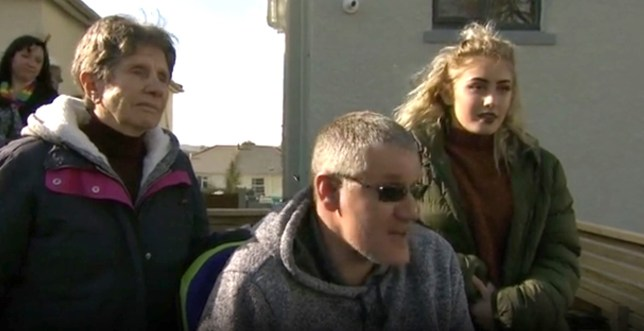 Stuart Philip and family at his home in Torquay, Devon during their appearance on the BBC's DIY SOS, presented by Nick Knowles.