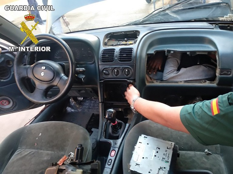 Picture: Guardia Civil Spanish Civil Guard finds four migrants hidden in vehicles
