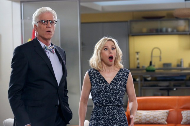 """THE GOOD PLACE -- """"Michael's Gambit"""" Episode 113 -- Pictured: (l-r) Ted Danson as Michael, Kristen Bell as Eleanor Shellstrop -- (Photo by: Vivian Zink/NBC/NBCU Photo Bank via Getty Images)"""