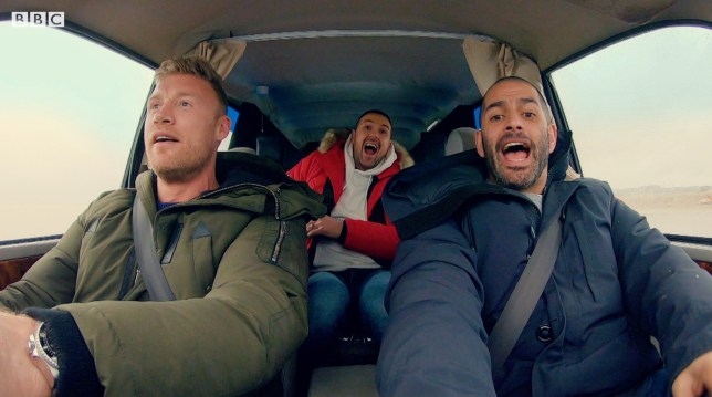 Freddie Flintoff, Paddy McGuinness and Chris Harris in the trailer for the new series of Top Gear