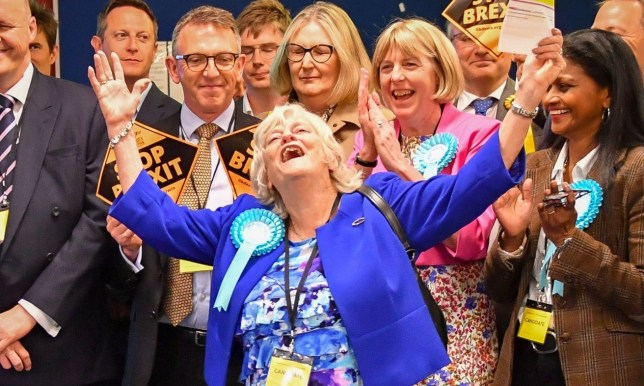 Brexit Party candidate Anne Widdecombe rejoices as her party secures seats in the South West region during the European Parliamentary elections count at the Civic Centre in Poole. PRESS ASSOCIATION Photo. Picture date: Sunday May 26, 2019. See PA story POLL Main. Photo credit should read: Ben Birchall/PA Wire