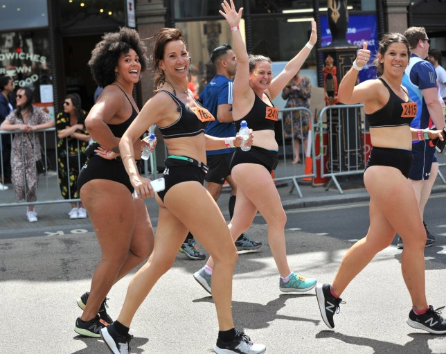 Some female runners ran the Vitality 10k 2019 in sports bras and pants , to show that runners come in all shapes all sizes and to promote body positivity The run took place in London, UK Pictured: Andrea McLean Ref: SPL5093721 270519 NON-EXCLUSIVE Picture by: SplashNews.com Splash News and Pictures Los Angeles: 310-821-2666 New York: 212-619-2666 London: 0207 644 7656 Milan: 02 4399 8577 photodesk@splashnews.com World Rights,