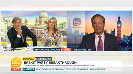 Farage was questioned about his success on Good Morning Britain (Picture: GMB)
