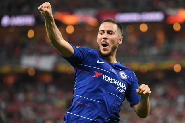 Chelsea's Belgian midfielder Eden Hazard celebrates after scoring a goal during the UEFA Europa League final football match between Chelsea FC and Arsenal FC at the Baku Olympic Stadium in Baku, Azerbaijian, on May 29, 2019. (Photo by Kirill KUDRYAVTSEV / AFP)KIRILL KUDRYAVTSEV/AFP/Getty Images