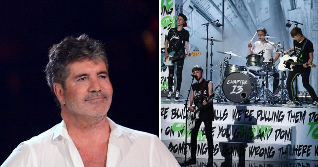 Simon Cowell and Chapter 13 during Britain's Got Talent semi-finals
