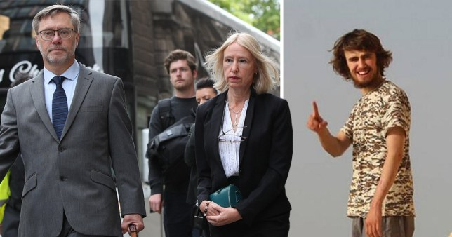 John Letts and Sally Lane, parents of Jack Letts aka Jihadi Jack, outside court - next to pic of Jihadi Jack believed to be in Isis controlled Syria