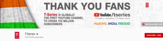 T-Series YouTube channel reaches 100 million subscribers