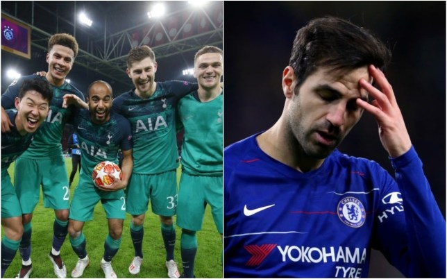 Arsenal and Chelsea fans are not happy with Cesc Fabregas praising Spurs' Champions League win over Ajax