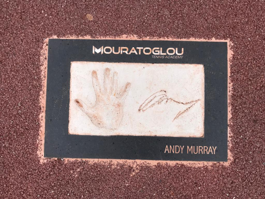 Andy Murray's handprint at the Mouratoglou Tennis Academy