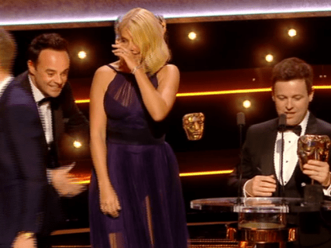 Ant McPartlin 'reluctantly' joins Declan Donnelly and Holly Willoughby on stage for I'm A Celeb win