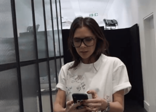 Victoria Beckham answering questions about her t-shirt on Instagram