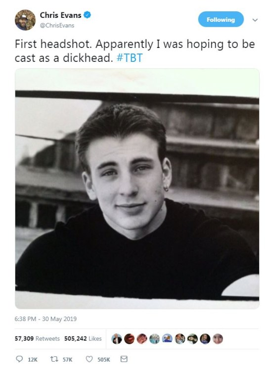 Avengers' Chris Evans shares first ever headshot and it's