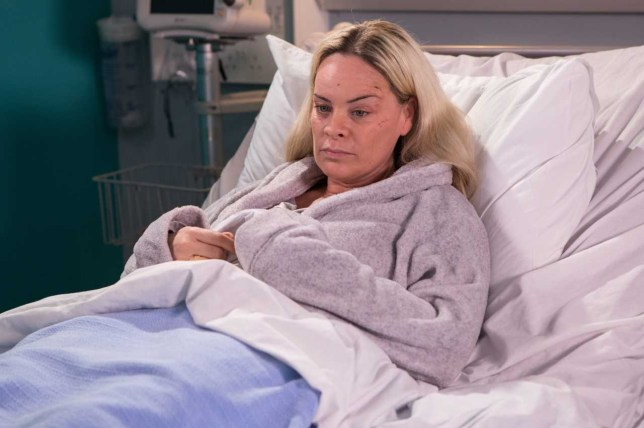 Hollyoaks Grace Black in hospital bed
