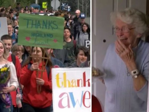 Hundreds of kids turn out to say goodbye to grandma who waved them off to school each day