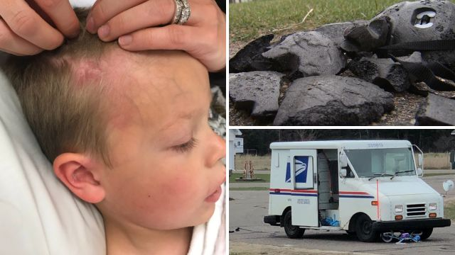Cohen Groenwold survived almost unscathed after a mail truck ran over his head, with his bicycle helmet almost certainly saving him from serious injury or death