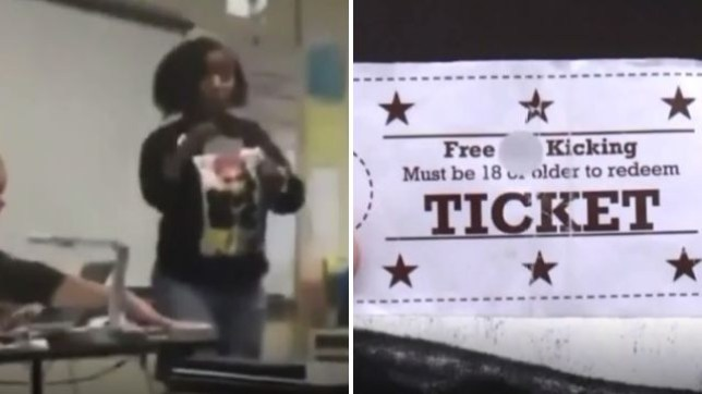 This mother stormed her daughter's classroom to threaten the girl's alleged bullies - before handing out 'Free Ass Kicking' tickets