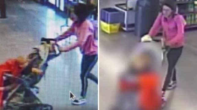The woman was seen pushing the baby boy through the Food City supermarket, before abandoning him in its parking lot