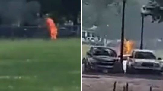 Man sets himself on fire and is engulfed with flames by