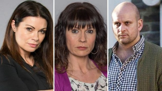 Carla form Coronation Street, Chas from Emmerdale and Stuart from EastEnders