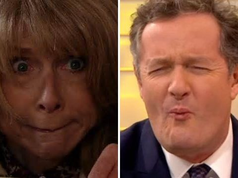 Piers Morgan makes a fresh enemy as he realises Gail from Coronation Street wants to attack him with a tomahawk