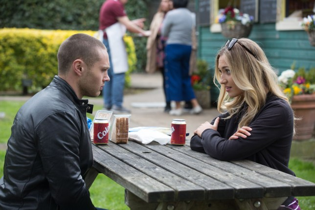 Danny Walter as Keanu Taylor and Tilly Keeper as Louise Mitchell in EastEnders
