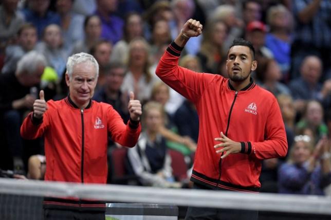 John McEnroe celebrates alongisde Nick Kyrgios at the Laver Cup