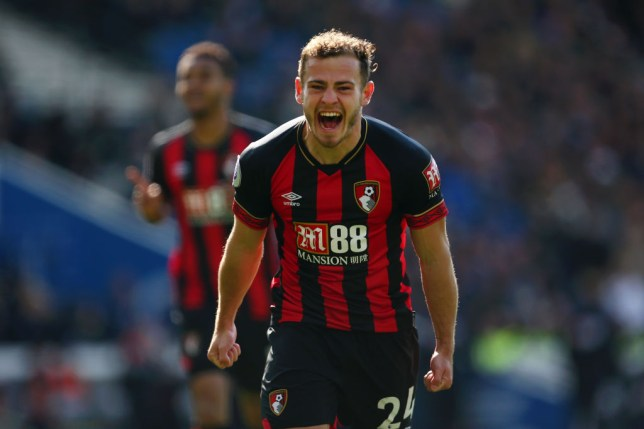Arsenal transfer target Ryan Fraser shouts during a match for Bournemouth