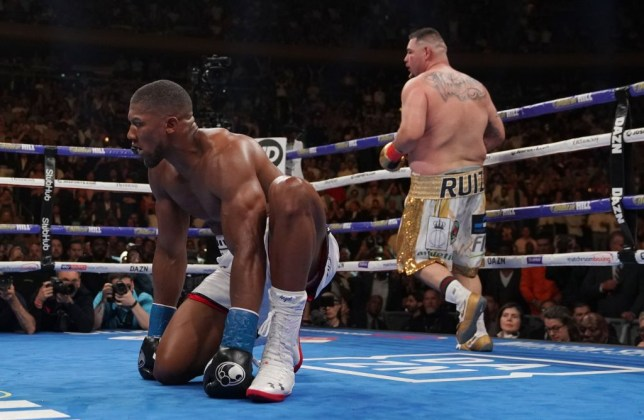 England's Anthony Joshua (L) kneels after being knocked down by USA's Andy Ruiz (R) in the 7th round to win by TKO during their 12-round IBF, WBA, WBO & IBO World Heavyweight Championship fight at Madison Square Garden in New York on June 1, 2019. (Photo by TIMOTHY A. CLARY / AFP) (Photo credit should read TIMOTHY A. CLARY/AFP/Getty Images)