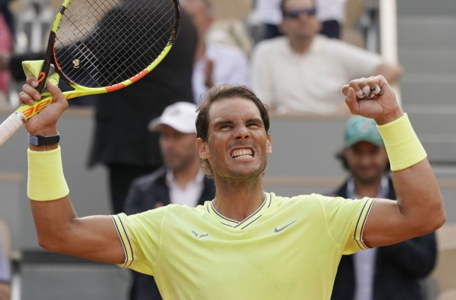 Rafael Nadal celebrates after winning a match at the French Open