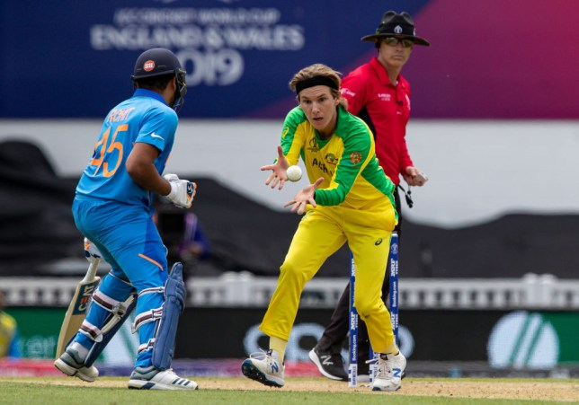 Adam Zampa bowling during Australia's Cricket World Cup defeat to India