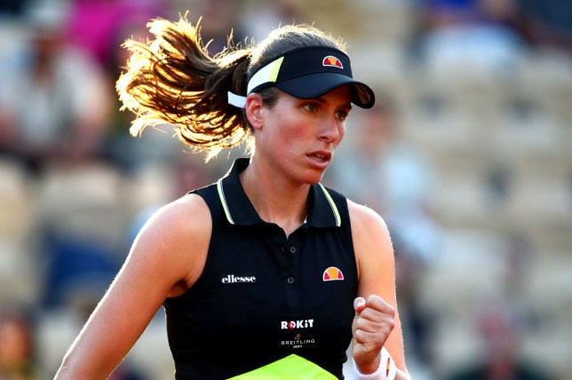 Johanna Konta celebrates after reaching the French Open quarter-finals