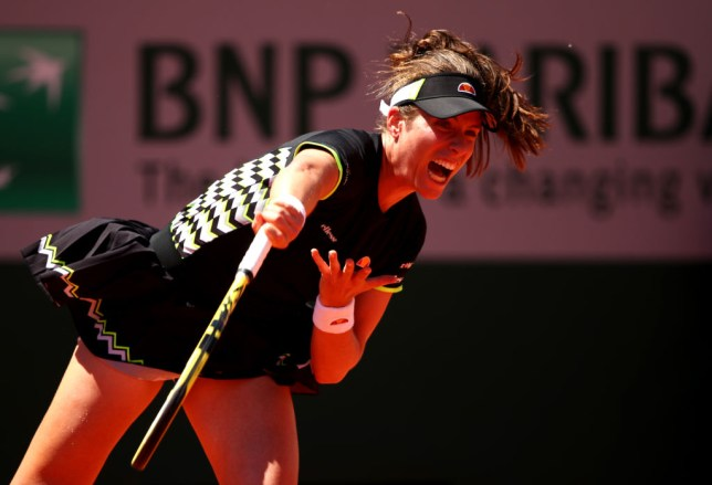 Johanna Konta serves in her French Open win over Donna Vekic