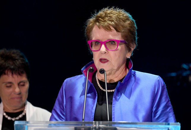 Billie Jean King speaks at a press conference