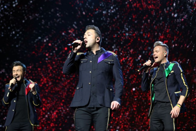 Shane Filan, Markus Feehily and Nicky Byrne of Westlife at The O2 Arena