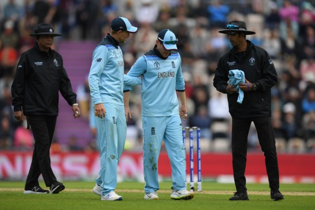 Eoin Morgan pulled up during England's World Cup clash with West Indies