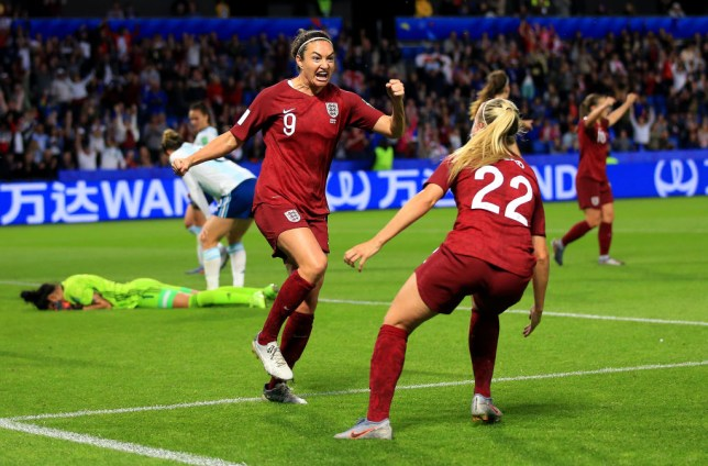 Jodie Taylor celebrates England's winning goal against Argentina
